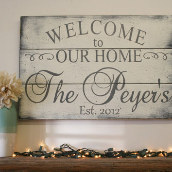 Welcome To Our Home Wood Sign Pallet Sign Wood Family Sign Personalized Name Sign Shabby Chic Decor Wall Decor Wedding Gift Housewarming