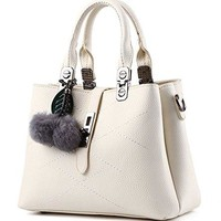 Women's Fashion Tote Bag Purse Satchel Handbag with Detechable Shoulder Strap (White)