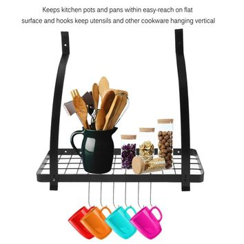 Kitchen Pot Rack with Hooks Wall Mounted Storage Rack Multi-Purpose Shelf Organizer for Cookware Utensils Pans  Drop Shipping