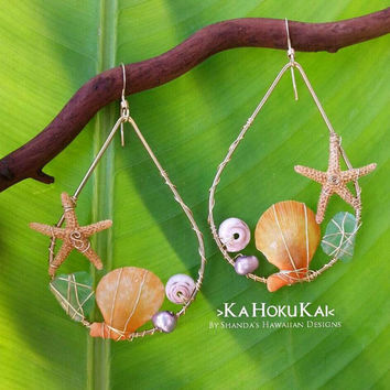 Hoku Kai Wire Wrapped Tear Drop Hoops Starfish Sea Glass