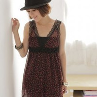 Beautiful Girls Dots Lace Shoulder Red Summer Dresses : Wholesaleclothing4u.com