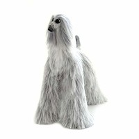 Grey White Collectible Afghan Hound Poseable Miniature Cute Plush Art Doll Needle Felted Dog