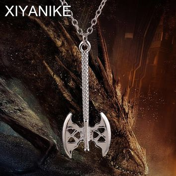 New Movie Necklace Free Shipping Jewelry Lord Of the Rings The Hobbit Movie Jewelry Gold Clap Ax Pendant Necklace XY-N77