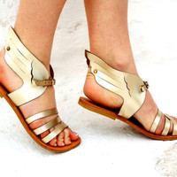 "Greek Goddess Sandals, gold feather Sandals, Ancient Greek Sandals, Genuine leather shoes, ""Hermes"" Summer shoes"