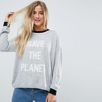 ASOS Eco Jumper with 'Save The Planet' Slogan at asos.com