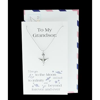 Ace Airplane Necklace Love You to the Moon and Back Gifts for Grandson, Happy Birthday Cards