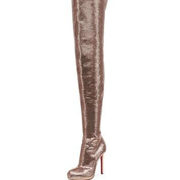 Christian Louboutin Moulin Noir Sequined Red Sole Tall Boot