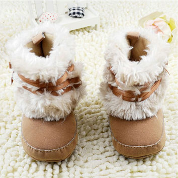Cute Newborn Infant Baby Girl Cute Ribbon Bowknot Snow Boots Crib Shoes Toddler Children Warm Cotton Fleece Boots