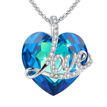 "[Valentines Day Gift] ""Blue Love"" Heart Pendant Necklace of Swarovski Crystal Engraved""Love"" ,Birthday Gifts for Her"