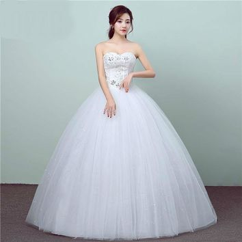 Wedding Dress Lace Crystal Flowers Strapless Ball Gown Princess Bridal Gowns