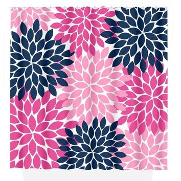 Flower SHOWER CURTAIN, Flower Bathroom, Navy Hot Pink, Girl MONOGRAM Personalized, Floral Bathroom Decor, Bath Towel, Plush Bath Mat