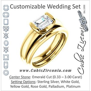 CZ Wedding Set, featuring The Liza Bella engagement ring (Customizable Emerald Cut Cathedral Bar-set Solitaire)