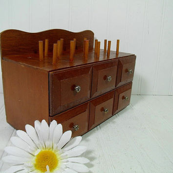 Mid Century Walnut Brown Wood Artisan's Two Drawer Storage Chest with Spindles - Vintage Crafter and Seamstress Tools & Notions Wood Cabinet