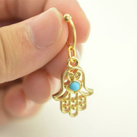 cartilage earring,hamsa hand earrings,cartilage hoop tragus helix earring,14k gold turquoise earring