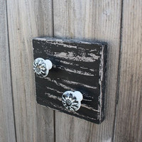 "Key Hook, Wall Key Hanger, Coat Hook, black on barnwood gray, 6"" x 6"" square  black and gray ceramic knobs, distressed finish, 2 knobs"