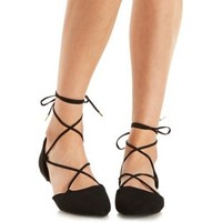 Black Lace-Up Pointed Toe D'Orsay Flats by Qupid at Charlotte Russe