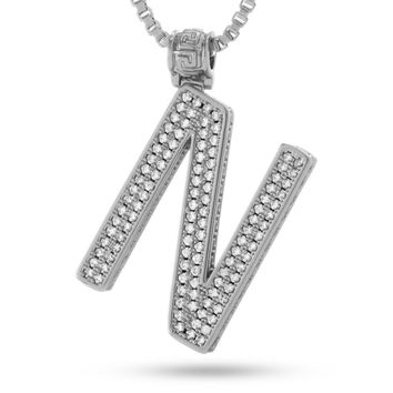"""White Gold Letter """"N"""" Necklace"""