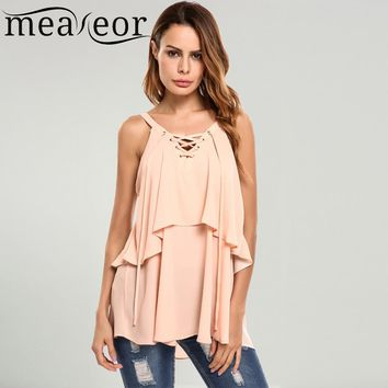 Meaneor Women's V-Neck Lace Up Sleeveless Layered Chiffon Tank Tops 2018 Spring Summer New Ladies Sexy Party Nightclub Tank Tops