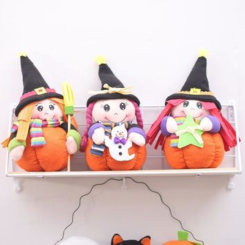 Upspirit Halloween Witch Doll with Pumpkin Stand for Festival Home Party Widow Ornament Halloween Table Decoration Cute Toy fkk4