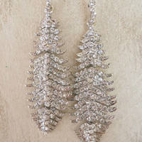 Sparkling Silver Feather Earrings