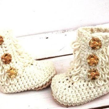 MDIG1O Crochet Ankle Boots, Baby Girl Booties, Baby Ugg Boots