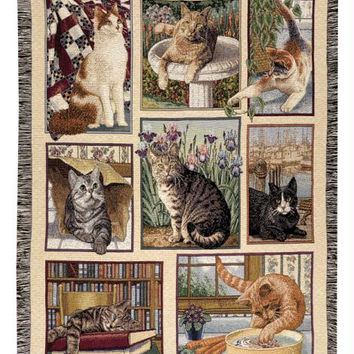 Cat Theme Throw Blanket - Made In The Usa