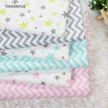 TIANXINYUE 6pcs/lot wave Star Cotton Fabric Patchwork DIY Quilting Sewing Fat Quarters Bundle Tissue Telas Tilda Needlework