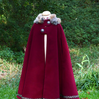 Christmas Special Deluxe design - Winter medieval cloak for child - materials high quality