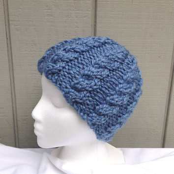 Womens blue beanie - Chunky knit beanie  - Cable knit hat - Teens wool hat