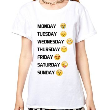 Daily Emojis - Monday, Tuesday, Wednesday, Thursday, Friday, Saturday, Sunday T-shirt