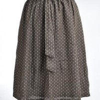 First Impression Polka Dot Knee Length A-line Skirt in Brown | Sincerely Sweet Boutique