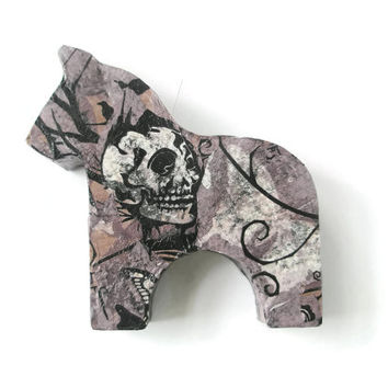 Candle holder Dala Horse Scandi Home décor Equestrian Skulls and roses Découpage homewear gifts