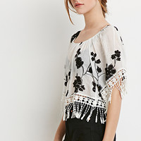 Embroidered Fringe Peasant Top