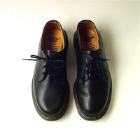 vintage Doc Martens Black Leather Oxford Shoes Made in England