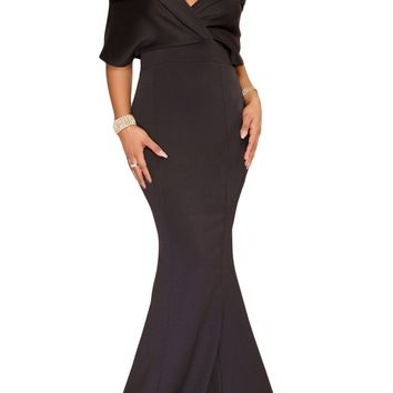 Black Off The Shoulder Mermaid Maxi Dress