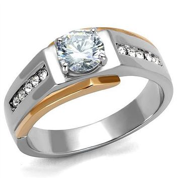 WildKlass Stainless Steel Ring Two-Tone IP Rose Gold Men AAA Grade CZ Clear