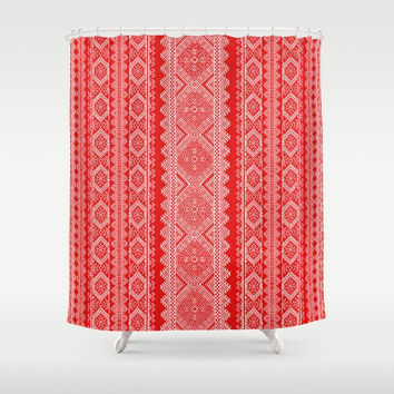 Ukrainian embroidery red and white Shower Curtain by exobiology