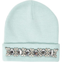 River Island Womens Aqua gem stone trim beanie hat
