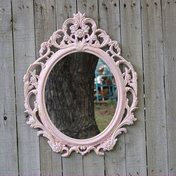 Shabby Chic Mirror, Pink, Oval, Upcycled, Ornate, Wedding Decor, Painted Mirror, Hollywood Regency, Baroque Mirror