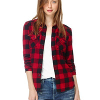 'The Kaitlyn' Plaid Pocketed Boyfriend Shirt
