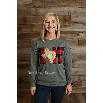 LOVE Shirt with Buffalo Plaid / GOLD Mermaid Sequin State