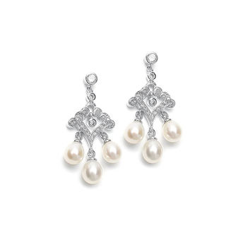 CZ Filigree Scroll with Freshwater Pearl Drops