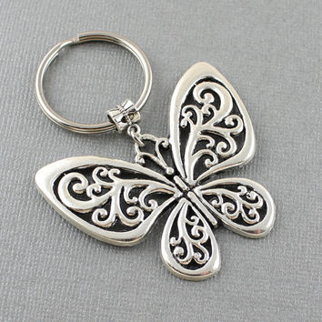 SRA XXYZ Large Butterfly Keychain - Butterfly Key Ring - Gift For Butterfly Lovers - Butterfly Gift - Valentines Day Gift - Birthday Gift