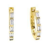 Diamond Baguette Huggies 14KT