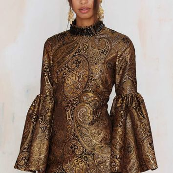 Nasty Gal Go for Baroque Bell Sleeve Mini Dress