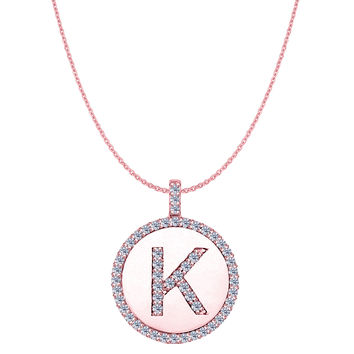 """K"" Diamond Initial 14K Rose Gold Disk Pendant (0.54ct)"