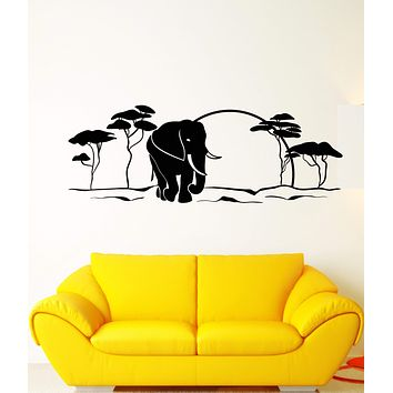Vinyl Wall Decal African Landscape Animal Elephant Nature Tree Stickers Unique Gift (1865ig)