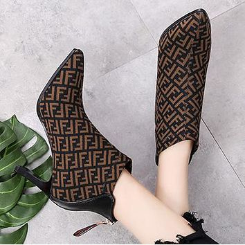 FENDI Winter Popular Women Personality Suede Pointed High Heels Shoes Martin Boots Coffee