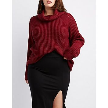 Plus Size Shaker Stitch Cowl Neck Sweater | Charlotte Russe