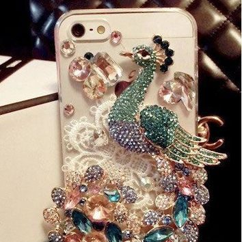 For Mobile Phone Charms Bling Lovely Lace Peacock Diamonds Gems Hard Case Cover